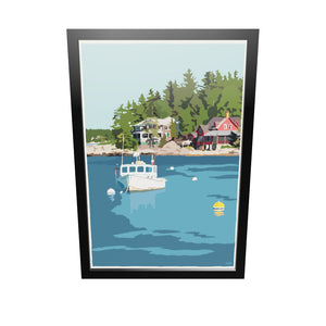 "Lobster Boat at Five Islands Art Print 24"" x 36"" Framed Travel Poster - Maine"