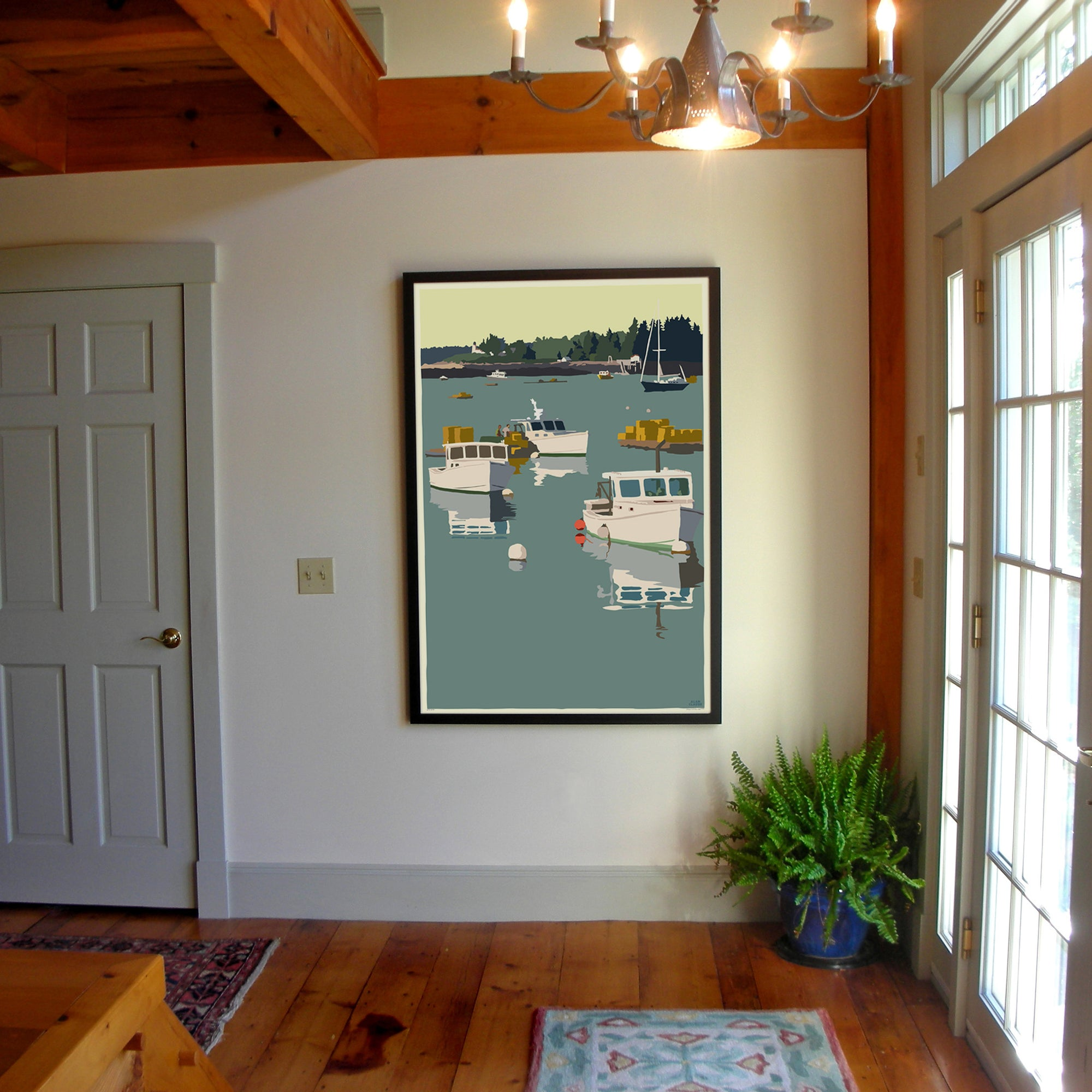 "Lobster Boats on a Sunday Morning Art Print 36"" x 53"" Framed Wall Poster - Maine"