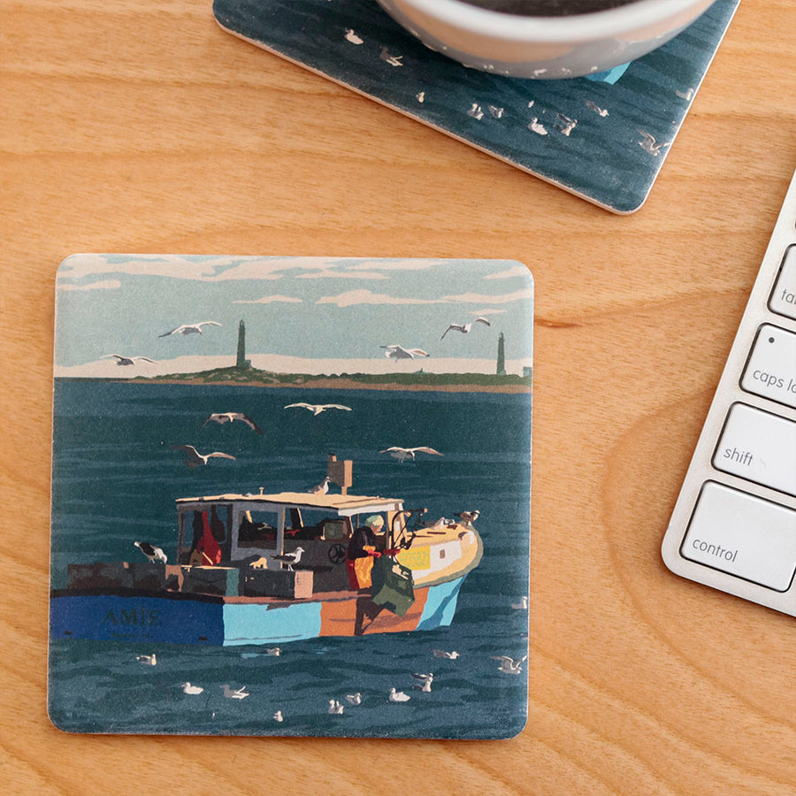 Lobstering at Cape Ann Art Drink Coaster - Massachusetts