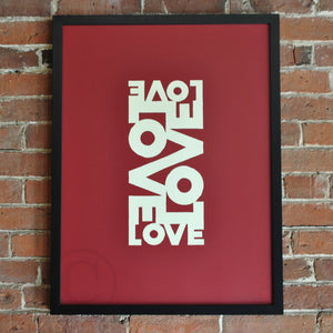"Love Energy Red Art Print 18"" x 24"" Framed"