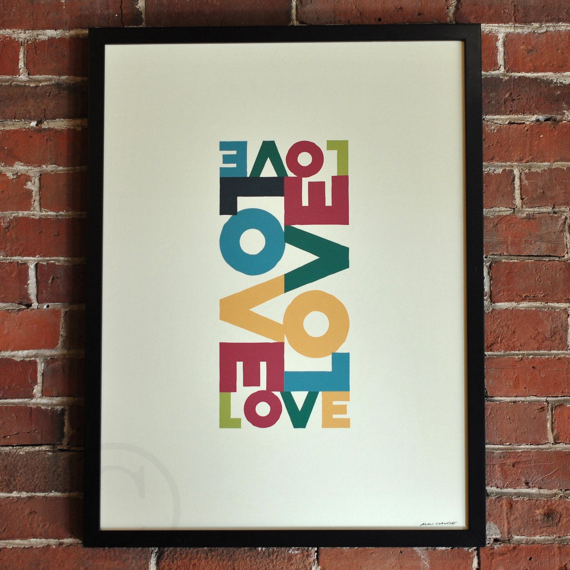 "Love Energy Retro Art Print 18"" x 24"" Framed"
