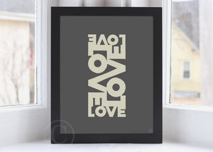 "Love Energy - Graphite Art Print 8"" x 10"" Framed Poster"