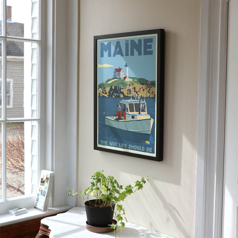 "Lobstering at the Nubble Maine Bicentennial Edition Art Print Framed 18"" x 24"" Wall Poster - Maine"