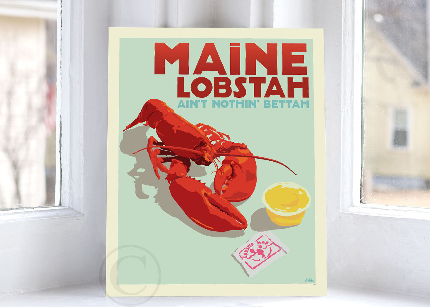 "Maine Lobstah Art Print 8"" x 10"" Wall Poster By Alan Claude"