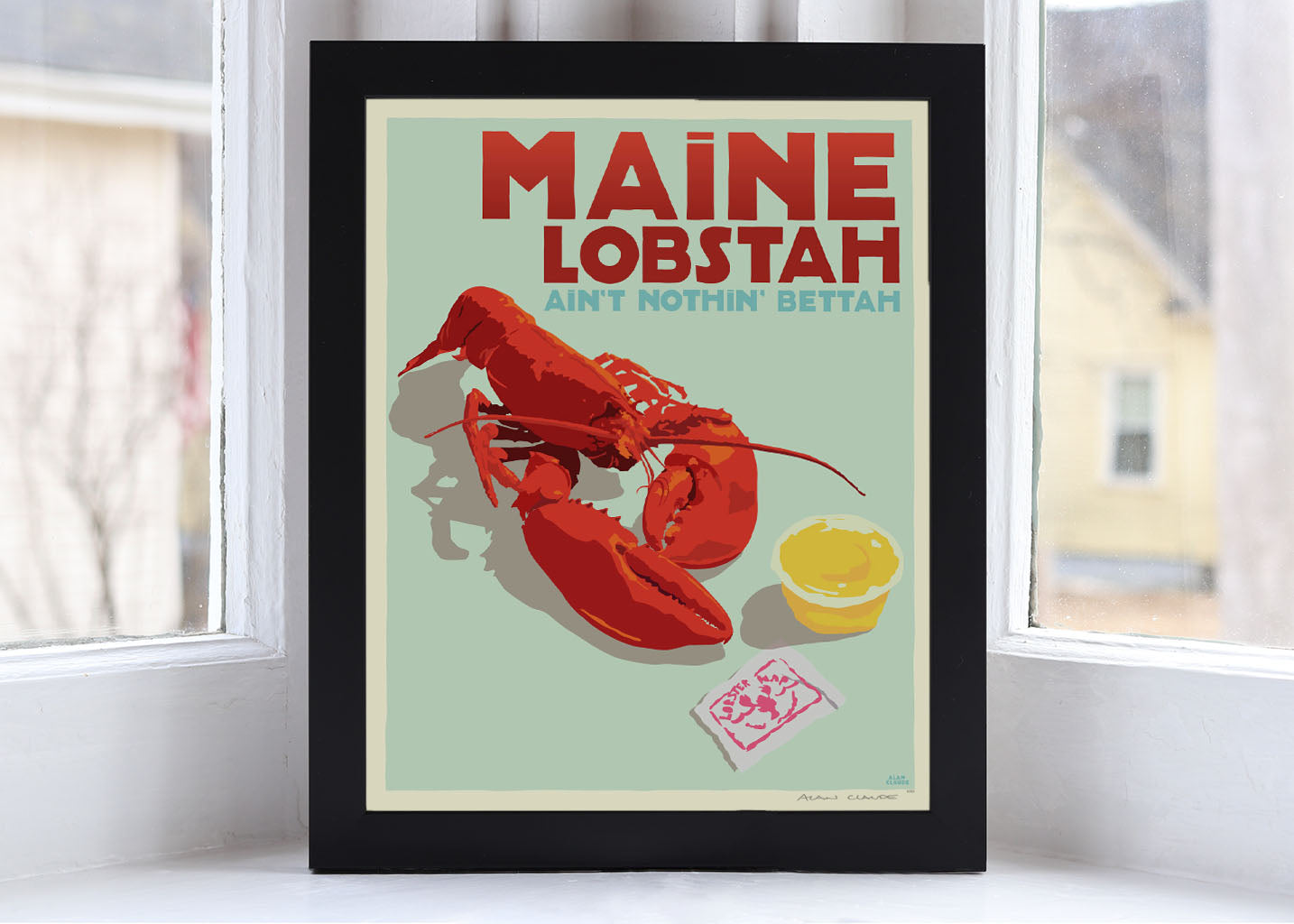 "Maine Lobstah Art Print 8"" x 10"" Framed Wall Poster By Alan Claude"