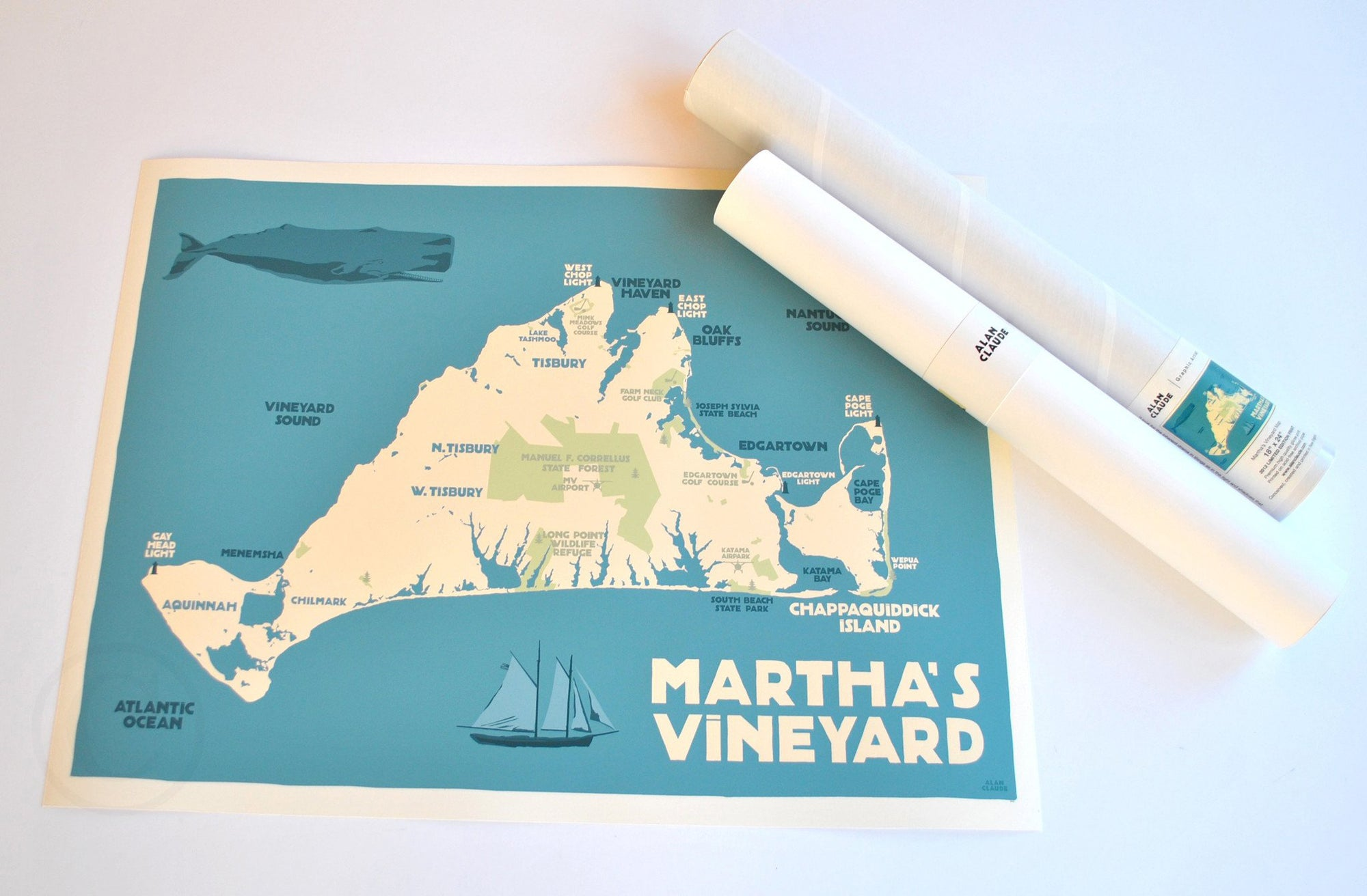"Martha's Vineyard Map Art Print 18"" x 24"" Travel Poster - Massachusetts"