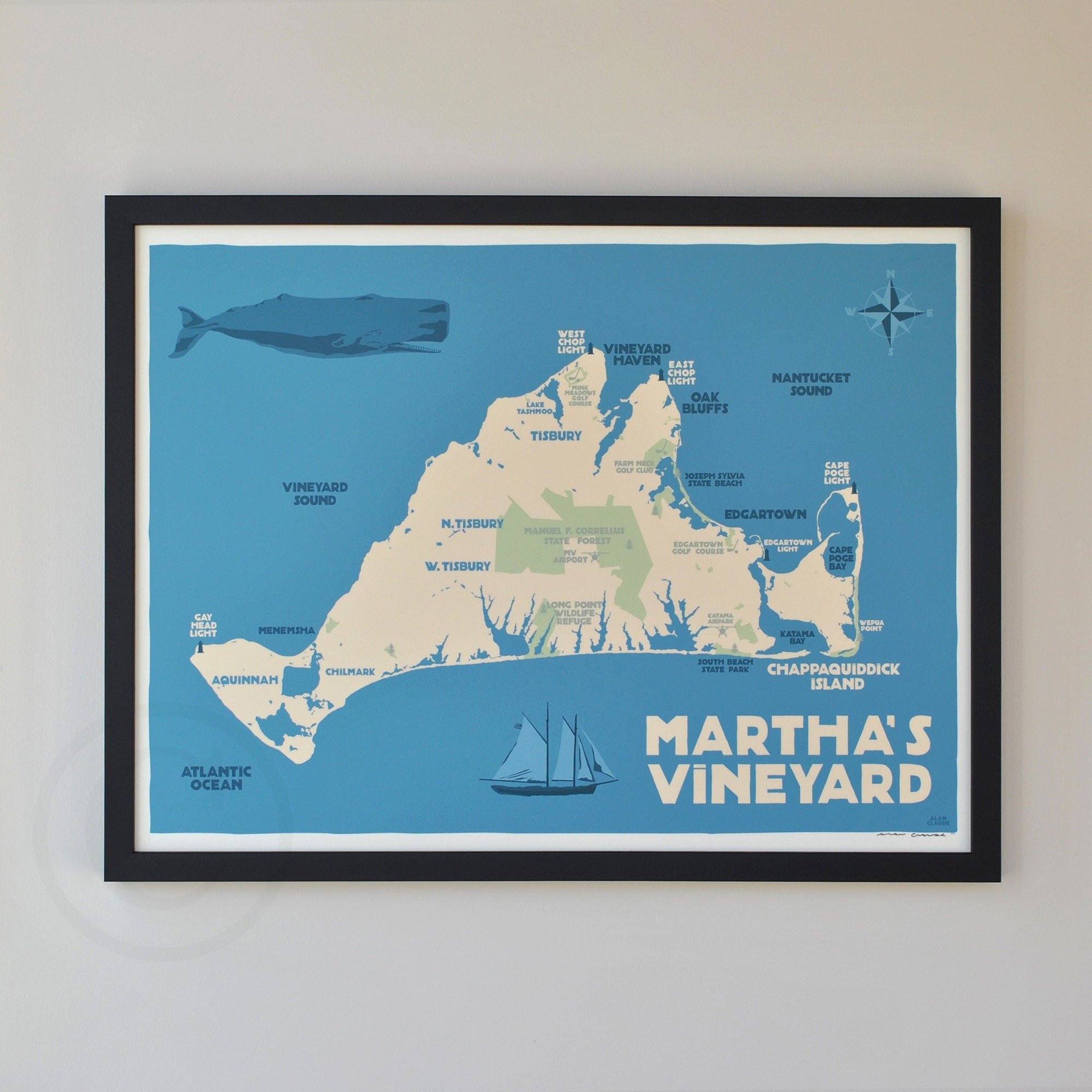 "Martha's Vineyard Map Art Print 18"" x 24"" Framed Travel Poster - Massachusetts"