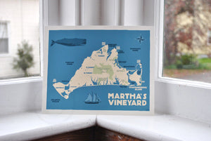 "Martha's Vineyard Map Art Print 8"" x 10"" Travel Poster - Massachusetts"