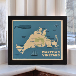 "Martha's Vineyard Map Art Print 8"" x 10"" Framed Travel Poster - Massachusetts"
