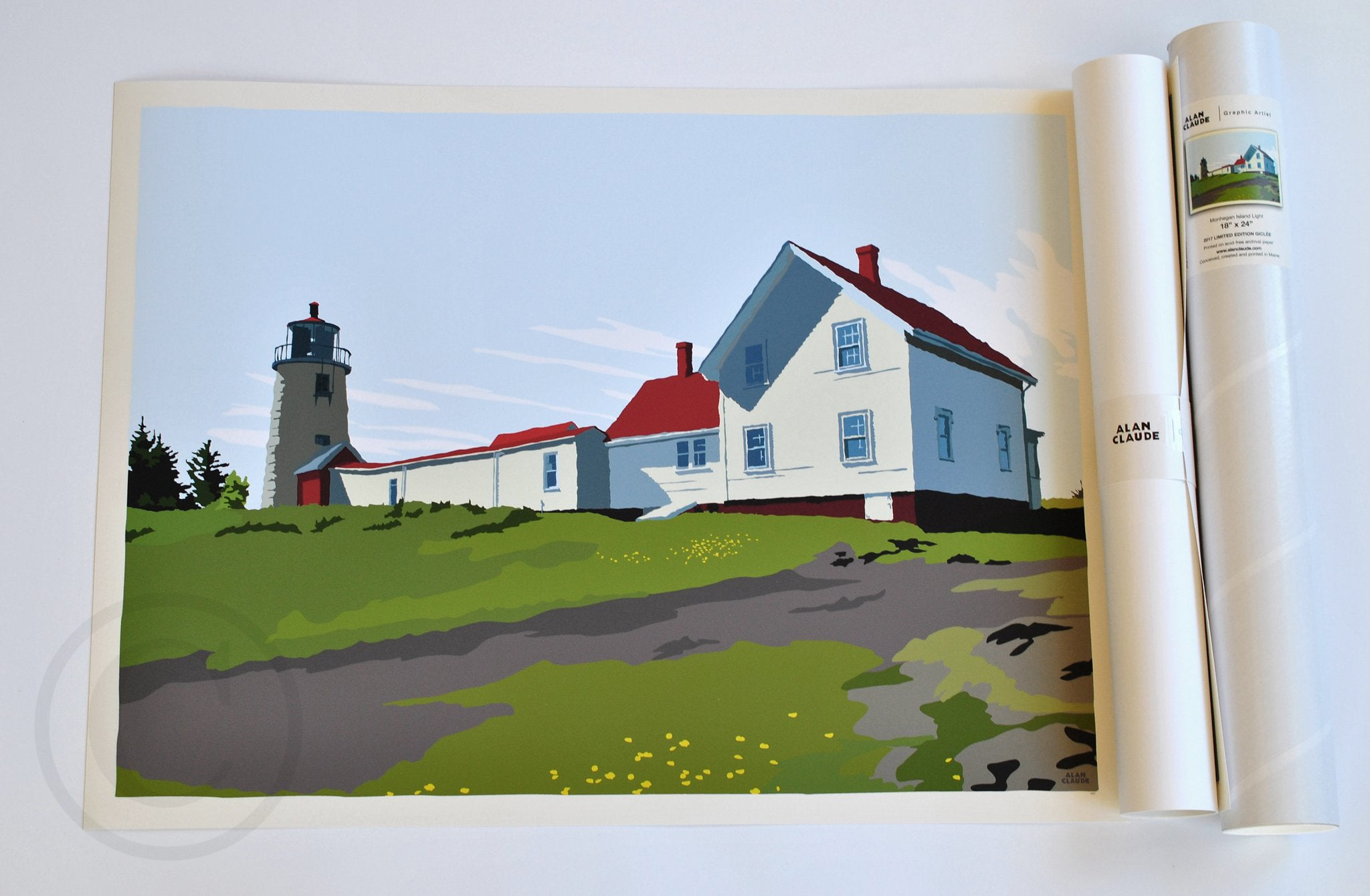 "Monhegan Island Light Art Print 18"" x 24"" Wall Poster - Maine"