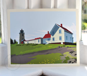"Monhegan Island Light Art Print 8"" x 10"" Wall Poster - Maine"