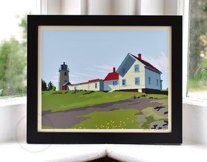 "Monhegan Island Light Art Print 8"" x 10"" Framed Wall Poster - Maine"