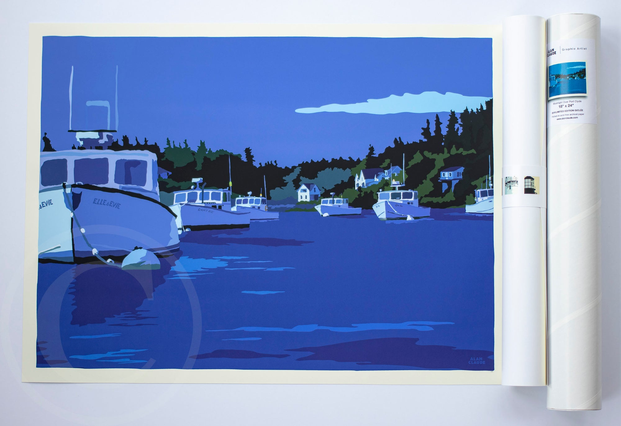 "Moonlight Over Port Clyde Art Print 18"" x 24"" Wall Poster"
