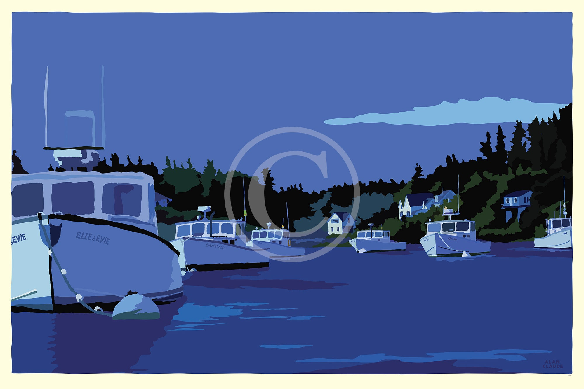 "Moonlight Over Port Clyde Art Print 36"" x 53"" Wall Poster - Maine by Alan Claude"