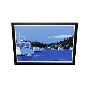 "Moonlight Over Port Clyde Art Print 24"" x 36"" Framed Wall Poster - Maine by Alan Claude"