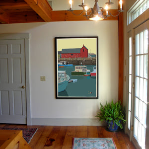 "Motif #1 - version A - Art Print 36"" x 53"" Framed Wall Poster - Massachusetts"