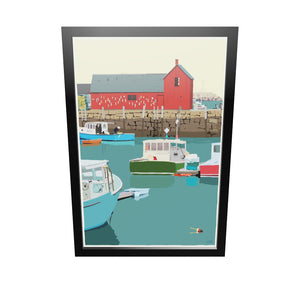 "Motif #1 - version A - Art Print 24"" x 36"" Framed Wall Poster - Massachusetts"