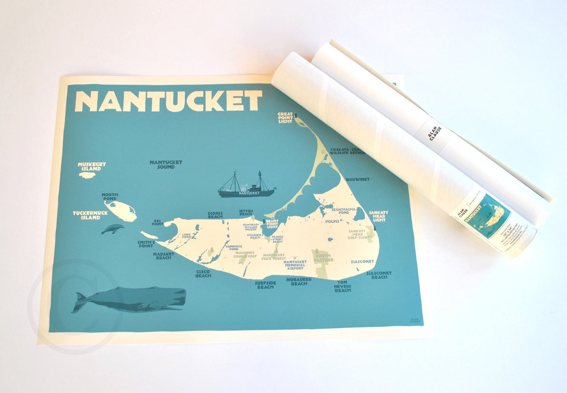 "Nantucket Map Art Print 18"" x 24"" Travel Poster - Massachusetts"