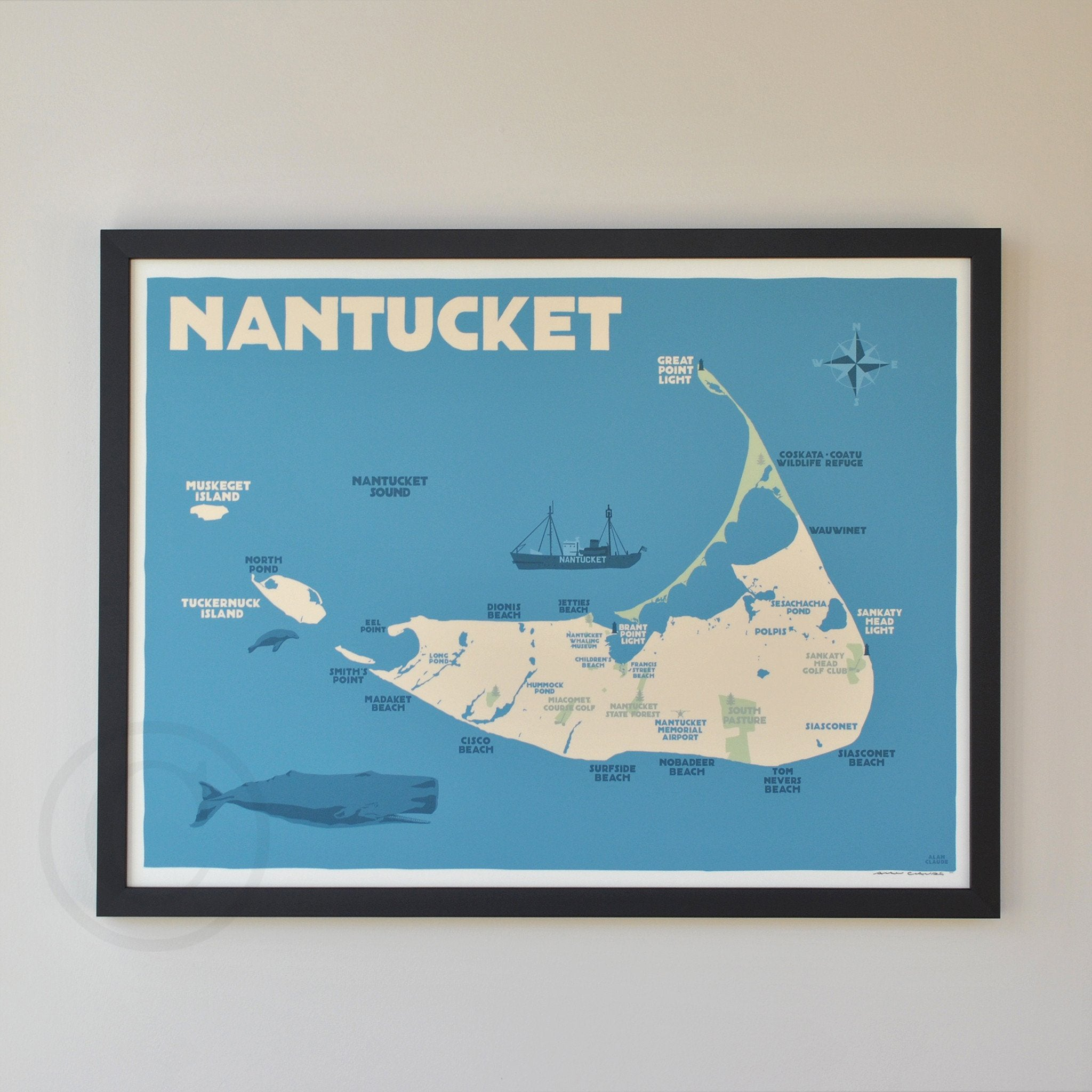 "Nantucket Map Art Print 18"" x 24"" Framed Travel Poster - Massachusetts"