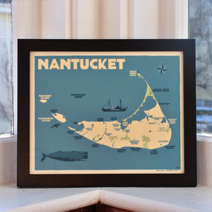 "Nantucket Map Art Print 8"" x 10"" Framed Travel Poster - Massachusetts"