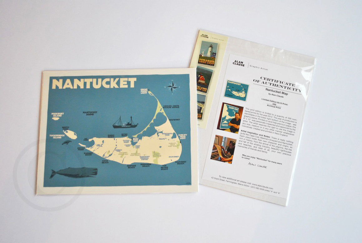 "Nantucket Map Art Print 8"" x 10"" Travel Poster - Massachusetts"