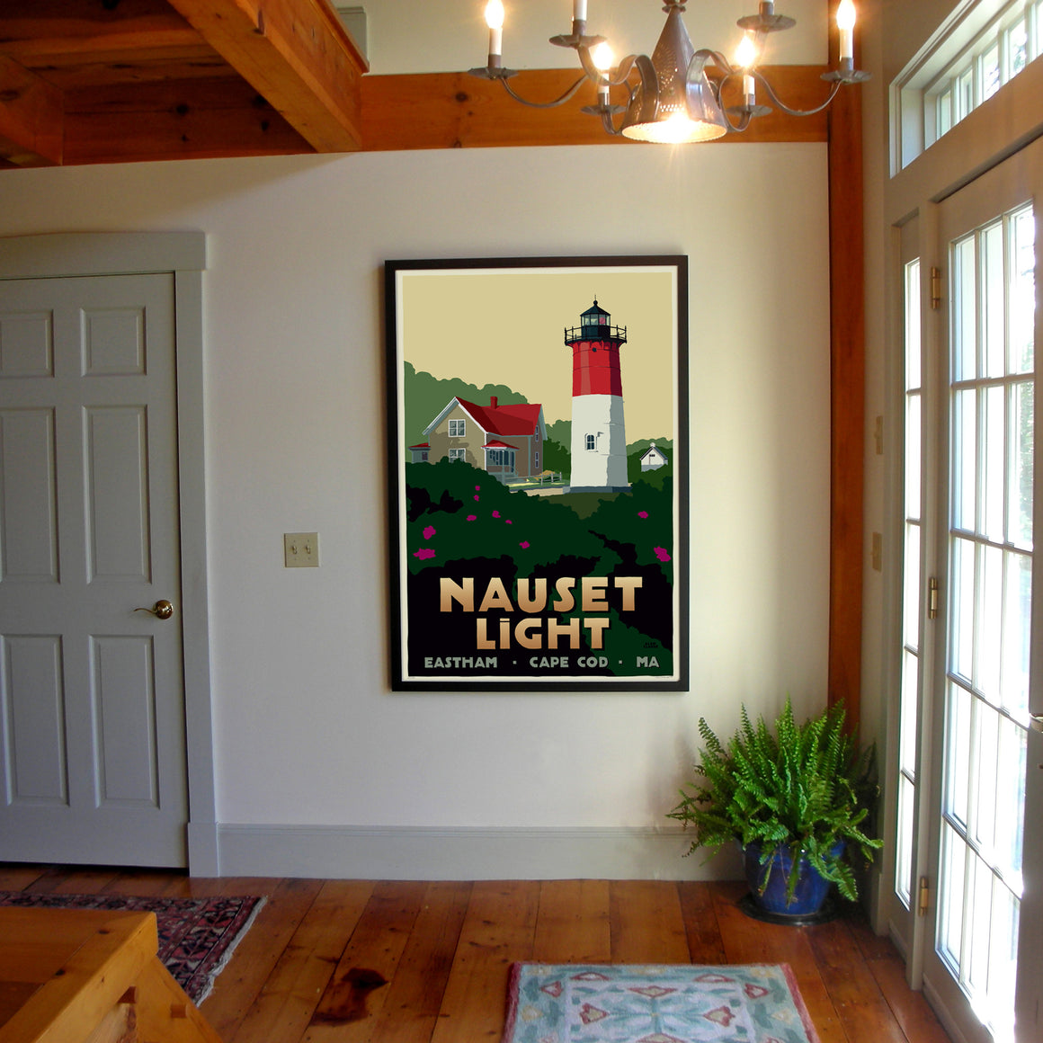"Nauset Light Art Print 36"" x 53"" Framed Travel Poster - Massachusetts"