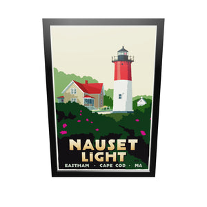 "Nauset Light Art Print 24"" x 36"" Framed Travel Poster - Massachusetts"
