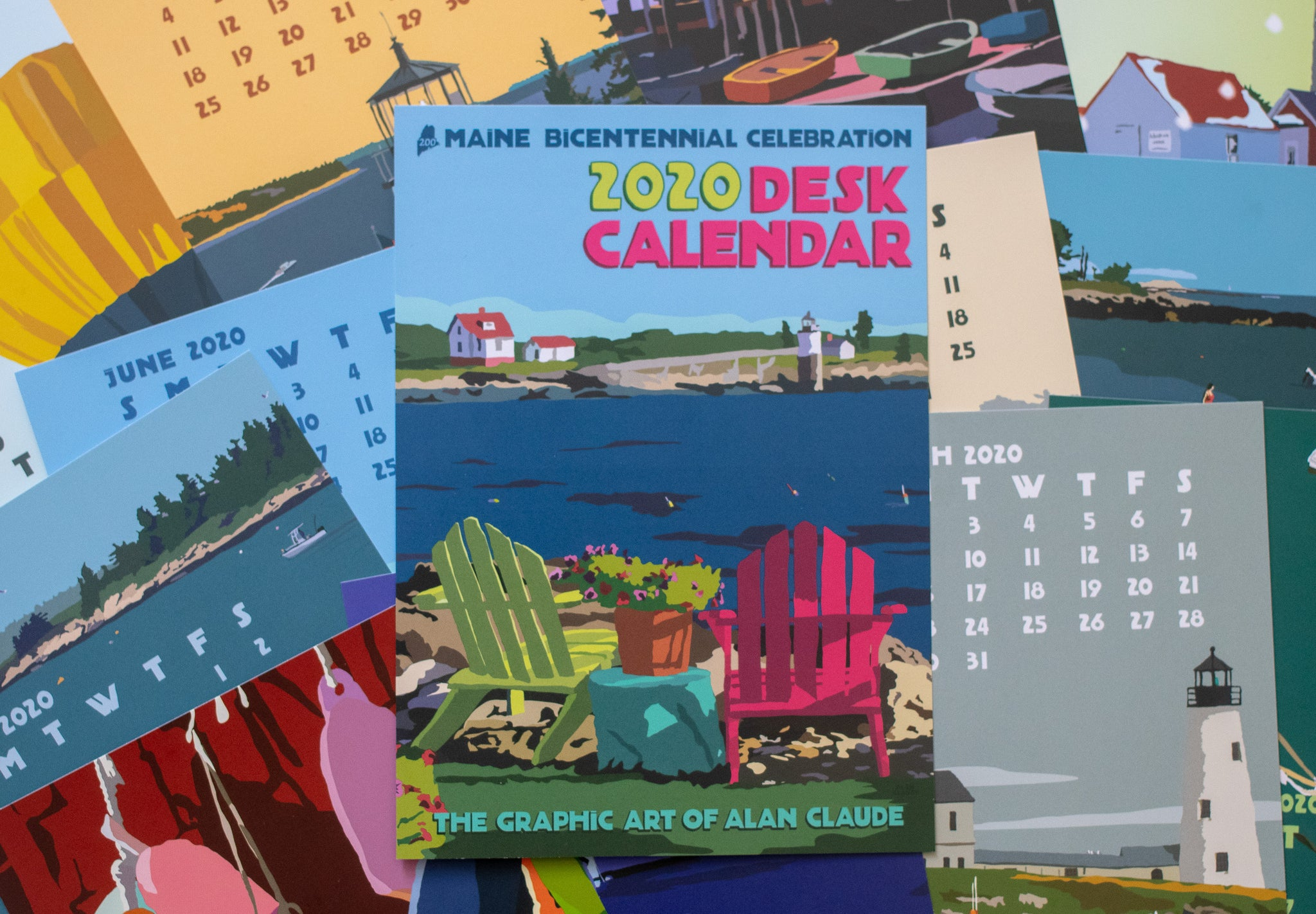 2020 DESK Art Calendar 5x7 retro vintage art desk style by Maine Artist Alan Claude