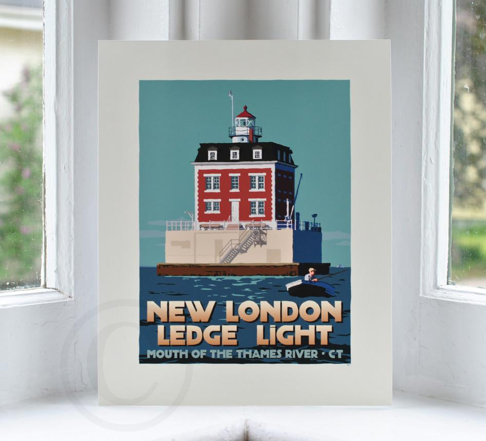 "New London Ledge Light Art Print 8"" x 10"" Travel Poster - Connecticut"