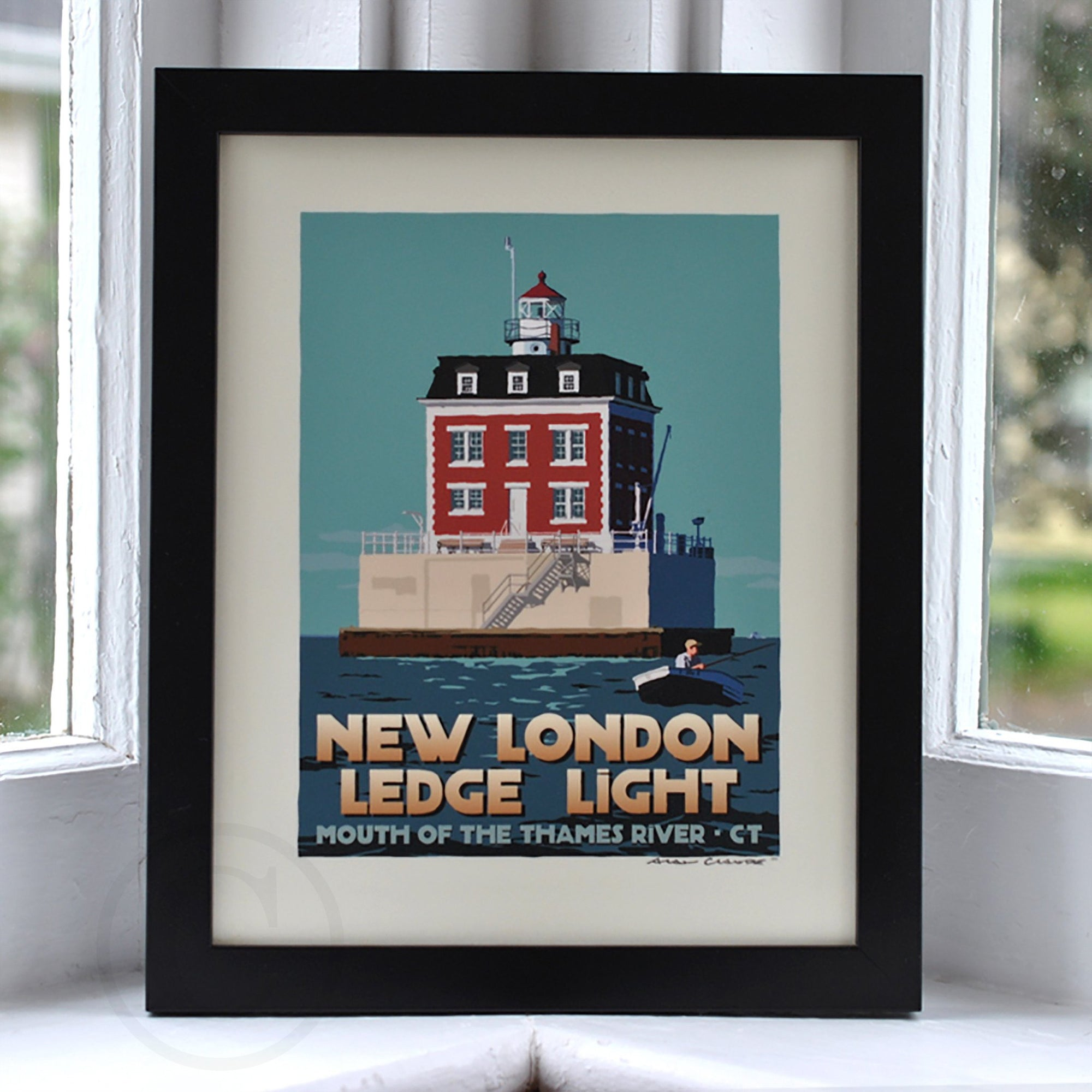 "New London Ledge Light Art Print 8"" x 10"" Framed Travel Poster - Connecticut"