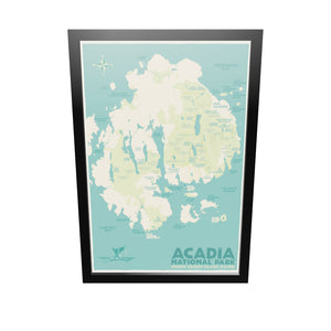 "Acadia National Park Map Art Print 24"" x 36"" Framed Travel Poster - Maine by Alan Claude"