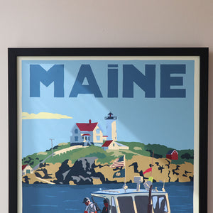 "Lobstering at the Nubble Maine Bicentennial Edition Art Print 18"" x 24"" Framed Travel Poster - Maine"