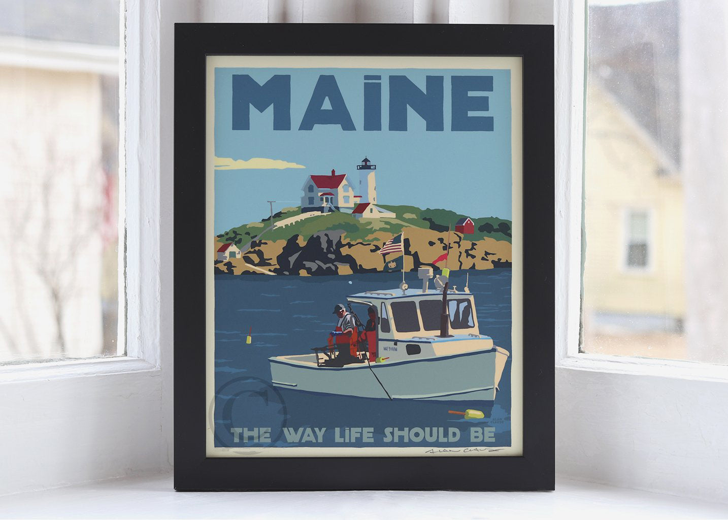 "Lobstering at the Nubble Maine 200 Bicentennial Edition Art Print Framed 8"" x 10"" Wall Poster - Maine"