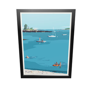 "Ocean Point Swimmers Art Print 18"" x 24"" Framed Wall Poster by Alan Claude"
