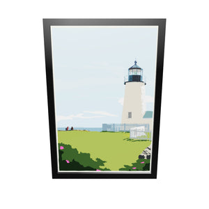 "Pemaquid Point Light Hikers Art Print 24"" x 36"" Framed Wall Poster - Maine"