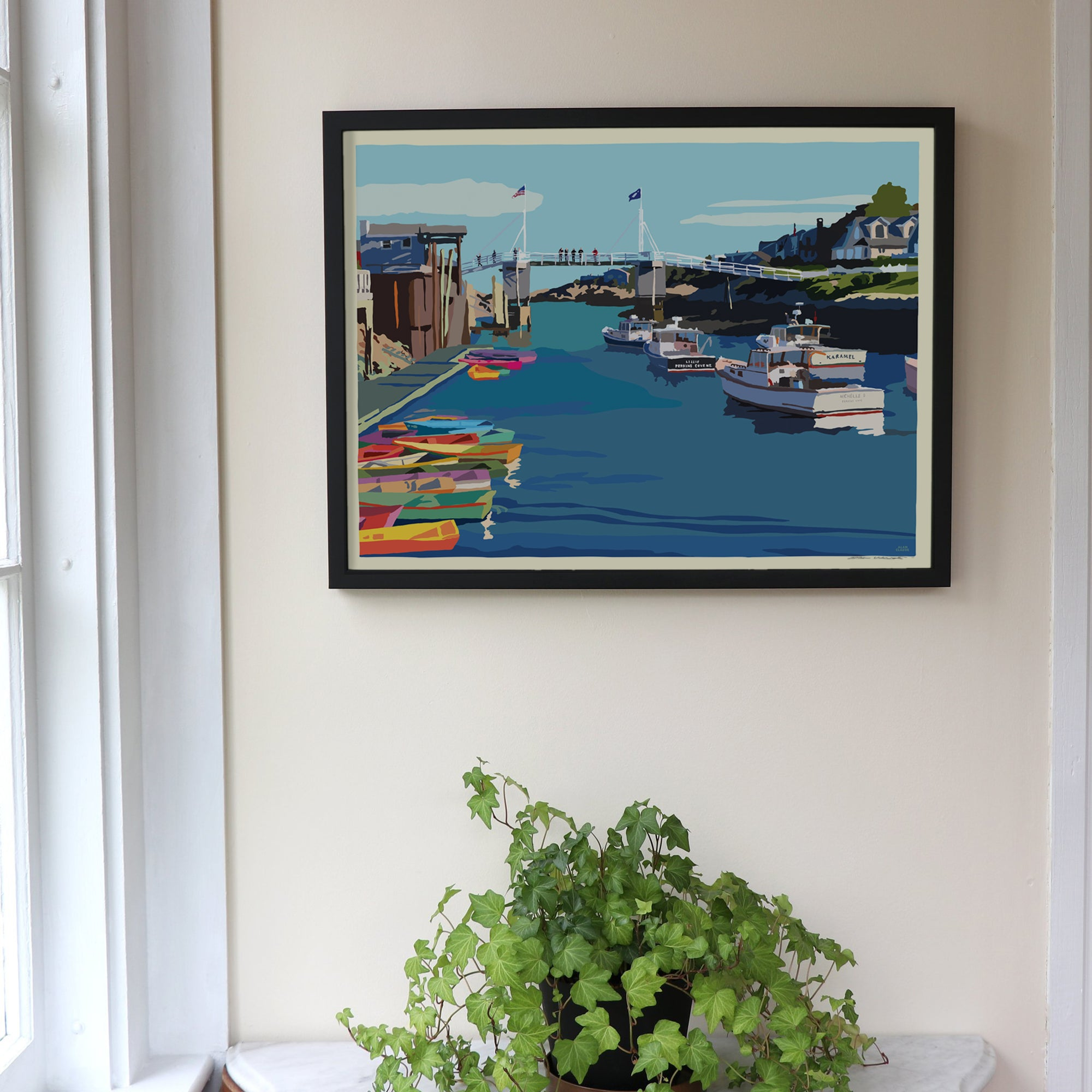 "Perkins Cove Draw Bridge Art Print 18"" x 24"" Framed Wall Poster - Maine"