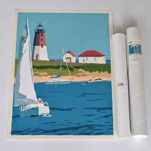 "Point Judith Light Art Print 18"" x 24"" Wall Poster - Rhode Island"