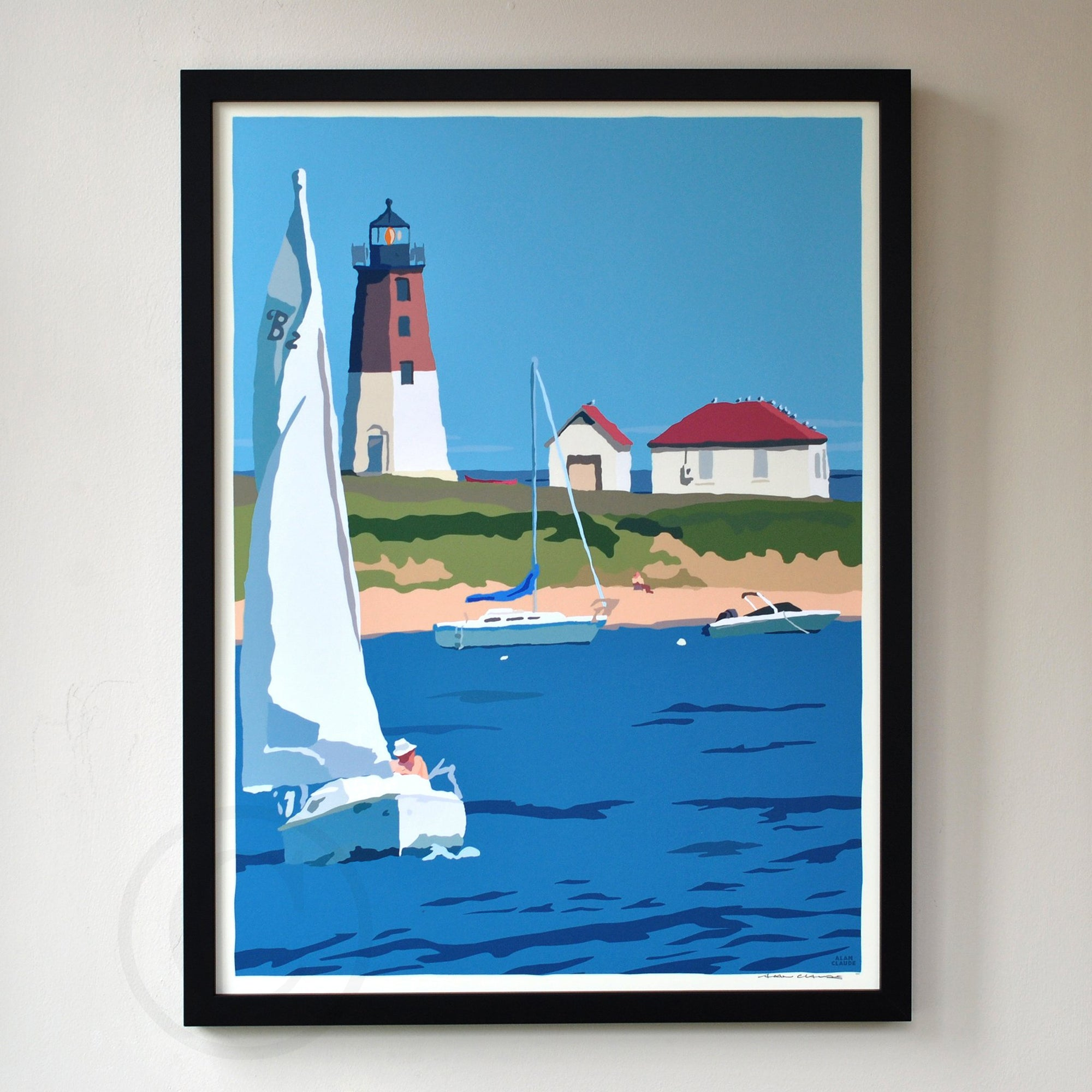 "Point Judith Light Art Print 18"" x 24"" Framed Wall Poster - Rhode Island"