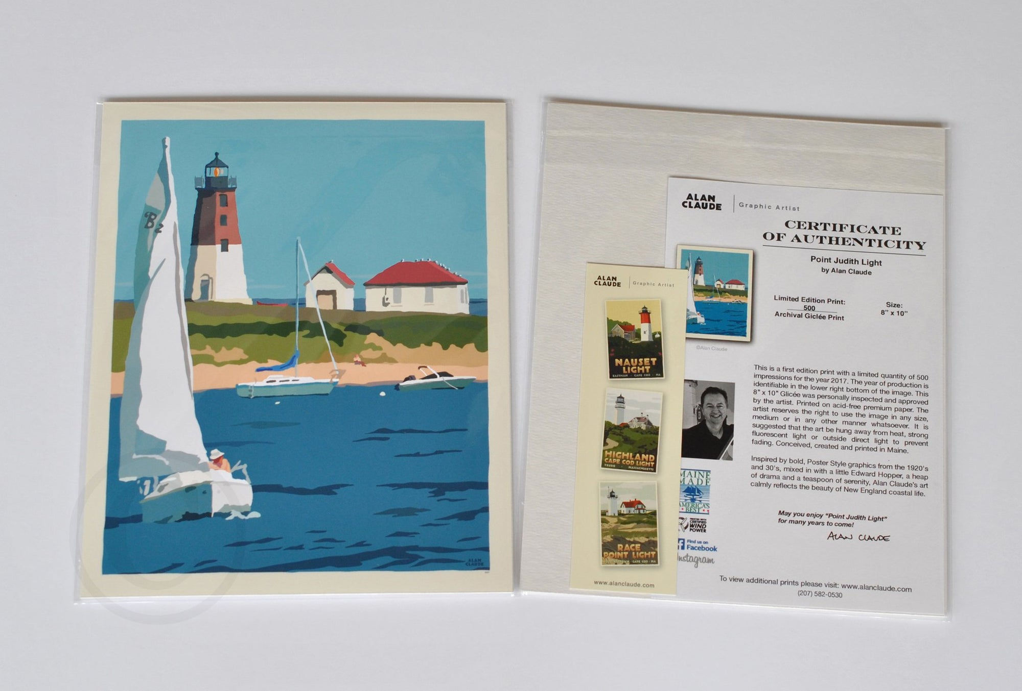 "Point Judith Light Art Print 8"" x 10"" Wall Poster - Rhode Island"