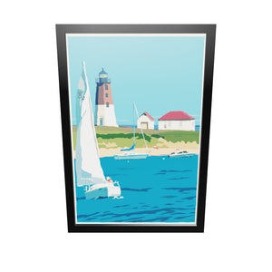"Point Judith Light Art Print 24"" x 36"" Framed Travel Poster - Rhode Island"