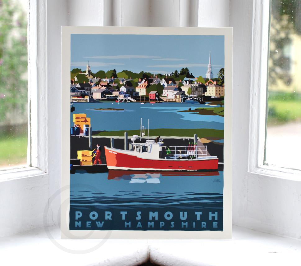 "Portsmouth Lobster Boat Art Print 8"" x 10"" Travel Poster - New Hampshire"
