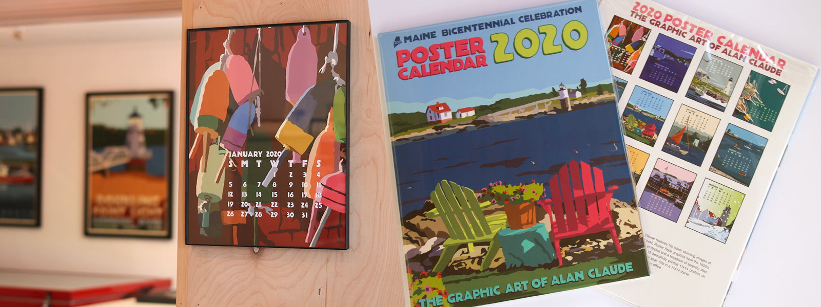 2020 POSTER Art Calendar 11x14 retro vintage art poster style by Maine Artist Alan Claude - SOLD OUT!