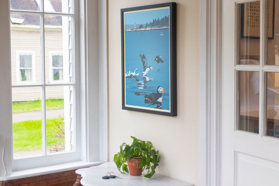 "Puffins At Franklin Island Art Print 18"" x 24"" Framed Wall Poster"