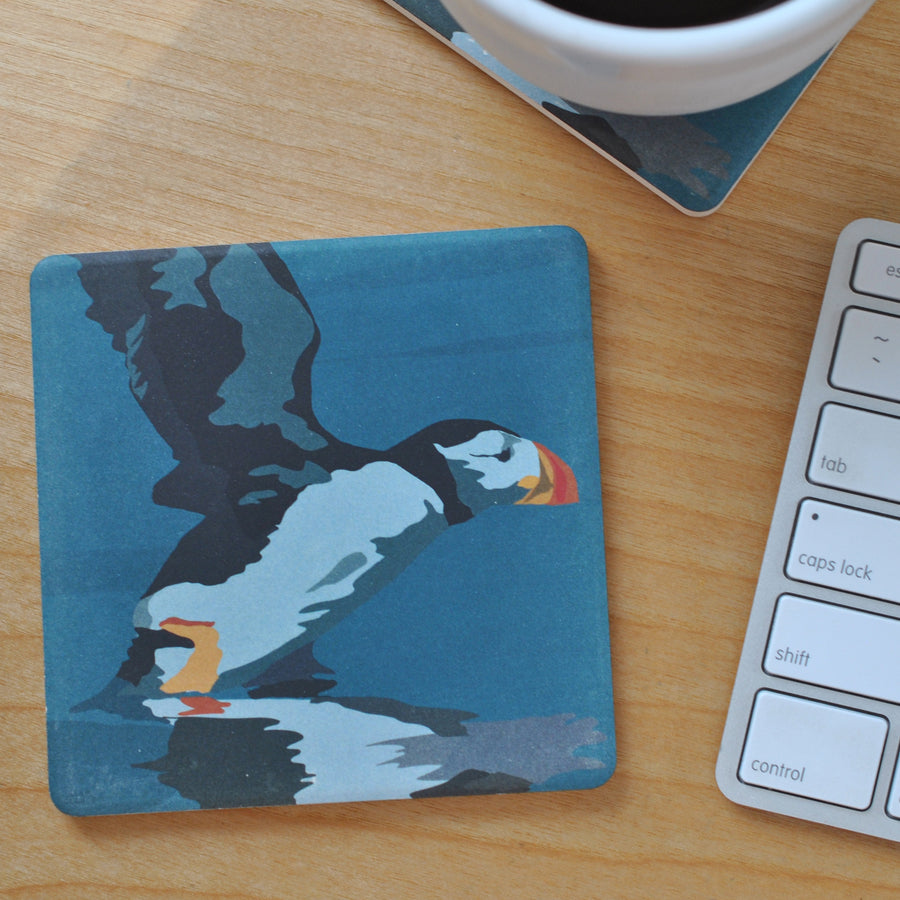 Puffin Takes Flight Art Drink Coaster - Maine