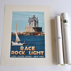 "Race Rock Light Art Print 18"" x 24"" Travel Poster - New York"