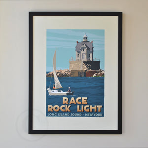 "Race Rock Light Art Print 18"" x 24"" Framed Travel Poster - New York"