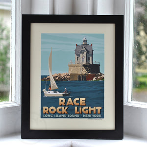 "Race Rock Light Art Print 8"" x 10"" Framed Travel Poster - New York"