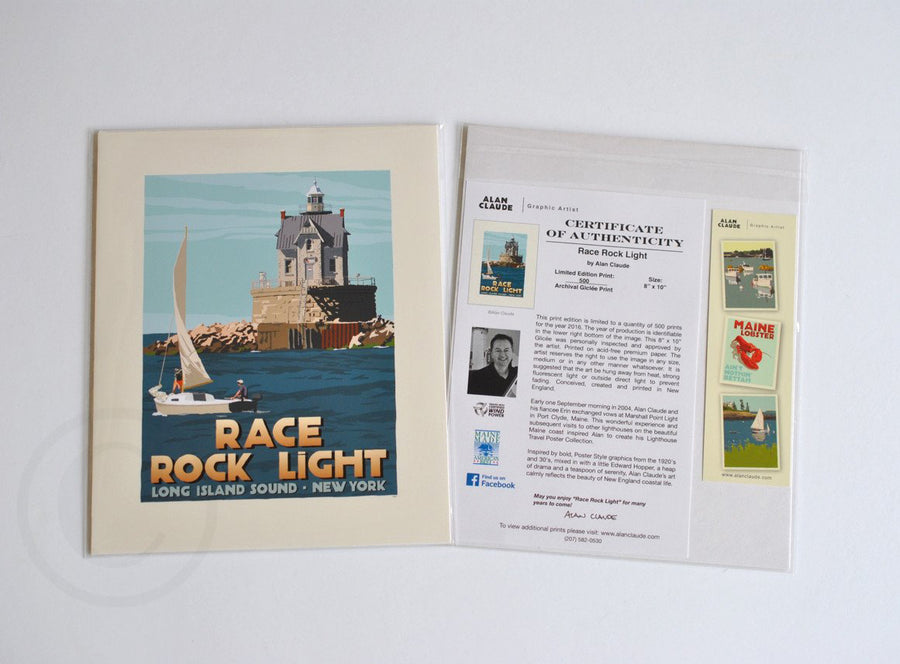 "Race Rock Light Art Print 8"" x 10"" Travel Poster - New York"