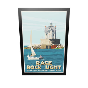 "Race Rock Light Art Print 24"" x 36"" Framed Travel Poster - New York"