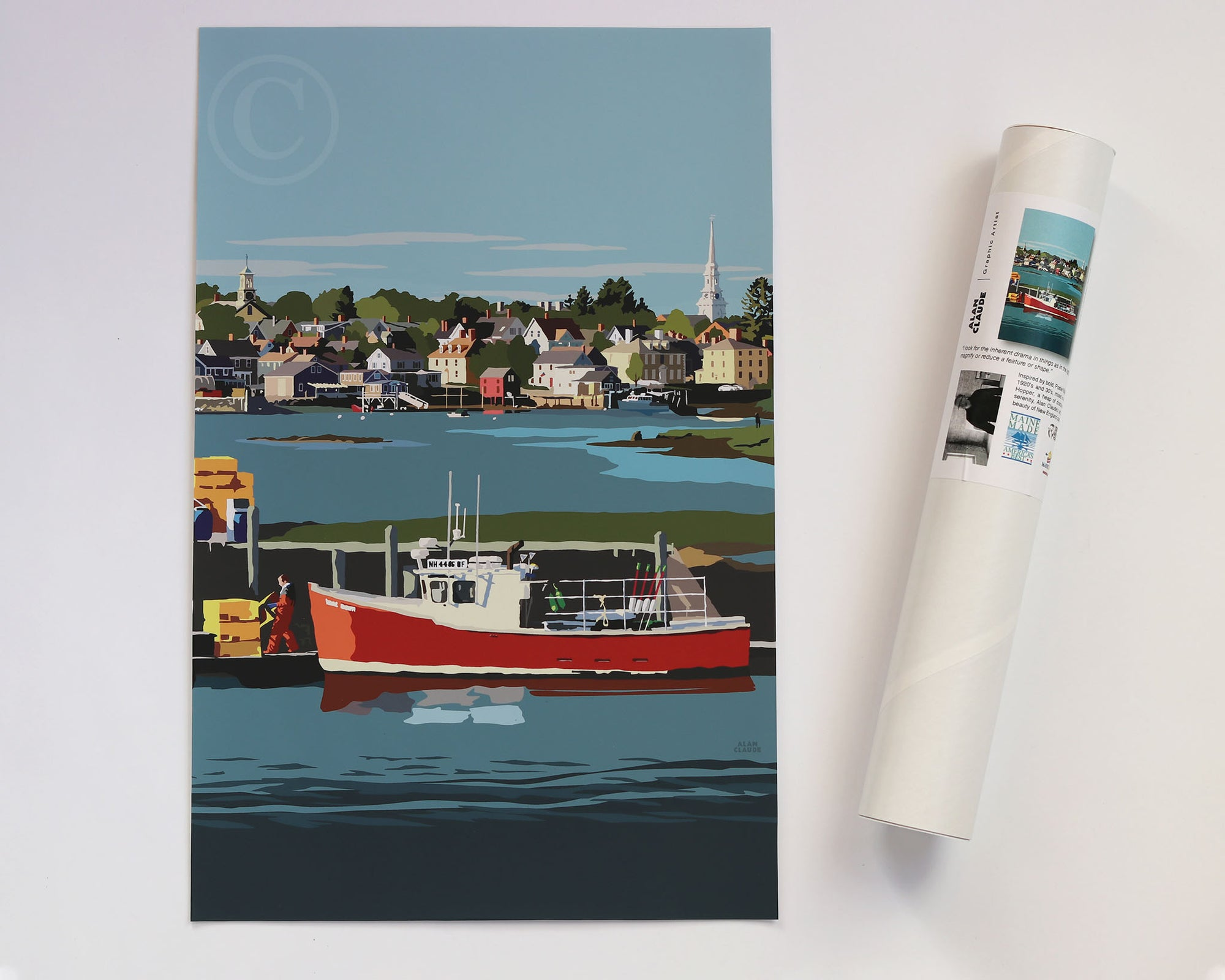 "Red Lobster Boat Art Print 11"" x 17"" Wall Poster - New Hampshire"
